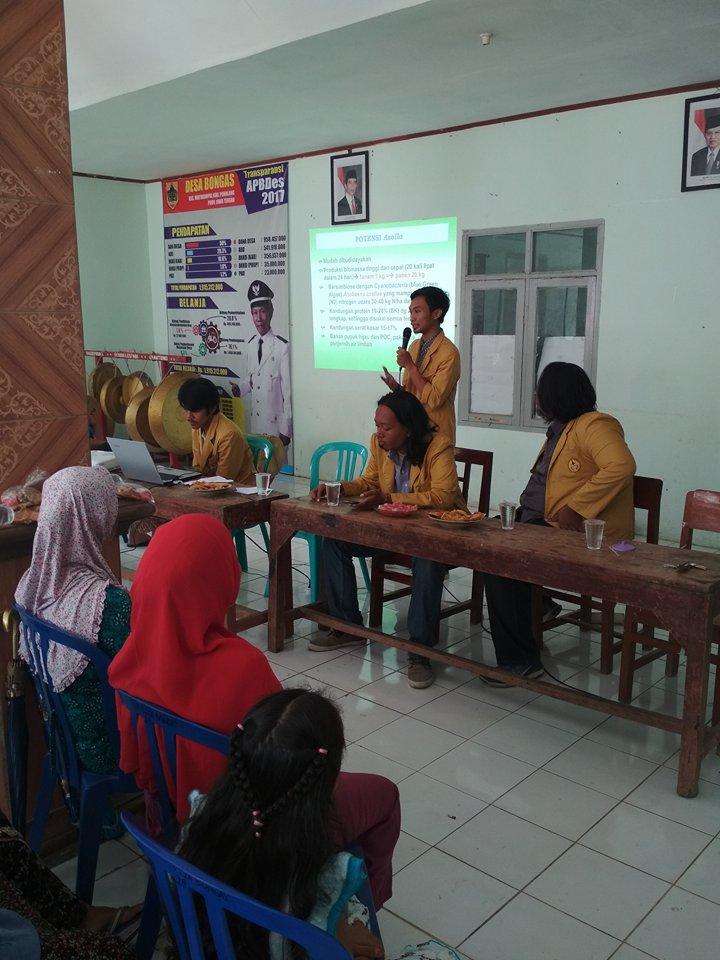 Pemateri sedang menyampaikan materi Soialisasi Bididaya Azolla. Foto oleh Andi Hakim